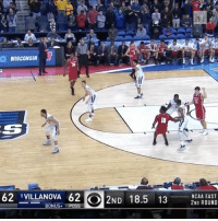 Sports, East, and Posse: WISCONSIN  62 VILLANOVA 62  O 2ND 18.5 13  ONUS  Poss  NCAA EAST  2ND ROUND Nigel Hayes with the go-ahead basket over No. 1 Villanova! MarchMadness (➡️ @pringlesus)