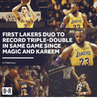 Los Angeles Lakers, Game, and Magic: wish  ERS  AKERS  FIRST LAKERS DUO TO  RECORD TRIPLE-DOUBLE  IN SAME GAME SINCE  MAGIC AND KAREEM  wish  IAKERS  H/T Bill Oram  B R Zo and Bron went off tonight 😤