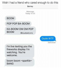 Barney, Dude, and Memes: Wish I had a friend who cared enough to do this  Barney  iMessage  Today 16:36  BOOM  POP POP BA-BOOM  KA-BOOM OM OM POP  BOOM  Obluetexticons  Dude WTF  Delivered  I'm live texting you the  fireworks display I'm  watching. You're  welcome.  boom boom sparkle  BANG