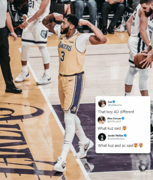 What they said! https://t.co/D1Ob7aKwS0: wish  KERS  3  kuz  @kylekuzma  That boy AD different  Alex Caruso  @ACFresh21  What kuz said  Javale McGee  @JaValeMcGee  What kuz and ac said  KLUTCH What they said! https://t.co/D1Ob7aKwS0