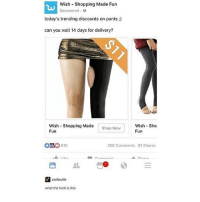 why: Wish Shopping Made Fun  Sponsored  today's trending discounts on pants  can you wait 14 days for delivery?  wish Shopping Made  Now  Shop Wish Sho  Fun  Fun  610  258 Comments 91 Shares  cash cutie  what the fuck is this why