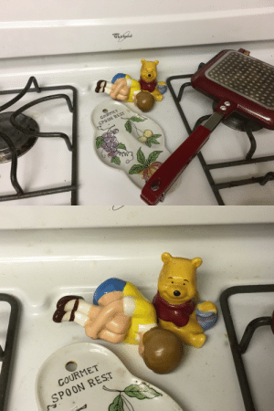Tumblr, Winnie the Pooh, and Blog: Wisoa  GOURMET  SPOON REST   COURMET  SPOON REST rustyjnails:  gaygayforgogo: My mom has these winnie the pooh salt and pepper shakers on the stove but christopher robin fell over and it looks like he's having a breakdown while pooh dissociates  The Christopher Robin movie looks great