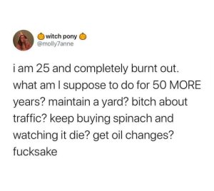 me irl: witch pony  @molly7anne  i am 25 and completely burnt out  what am I suppose to do for 50 MORE  years? maintain a yard? bitch about  traffic? keep buying spinach and  watching it die? get oil changes?  fucksake me irl