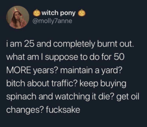 meirl: witch pony  @molly7anne  i am 25 and completely burnt out.  what am I suppose to do for 50  MORE years? maintain a yard?  bitch about traffic? keep buying  spinach and watching it die? get oil  changes? fucksake meirl