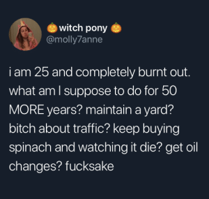 witch: witch pony  @molly7anne  iam 25 and completely burnt out.  what am I suppose to do for 50  MORE years? maintain a yard?  bitch about traffic? keep buying  spinach and watching it die? get oil  changes? fucksake