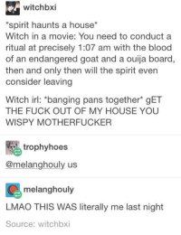 Bloods, Dank, and Fucking: witchbxi  *spirit haunts a house  Witch in a movie: You need to conduct a  ritual at precisely 1:07 am with the blood  of an endangered goat and a ouija board,  then and only then will the spirit even  consider leaving  Witch irl: banging pans together gET  THE FUCK OUT OF MY HOUSE YOU  WISPY MOTHERFUCKER  trophy hoes  @melanghouly us  C melanghouly  LMAO THIS WAS literally me last night  Source: witchbxi