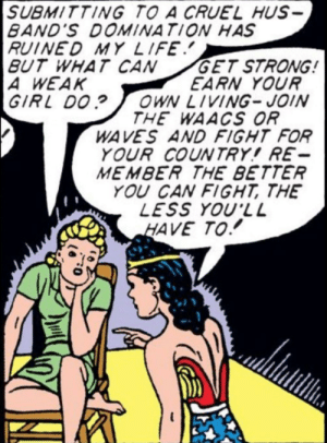 witchesversuspatriarchy:  Classic Wonder Woman giving a woman from an abusive relationship advice on being independent: witchesversuspatriarchy:  Classic Wonder Woman giving a woman from an abusive relationship advice on being independent