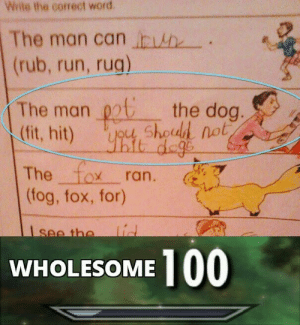 This kid gets it. via /r/memes http://bit.ly/2DuXU5K: Wite the correct word  The man can h  (rub, run, rug)  The man chod not  (fit, hit)  the dog.  it dege  The fox  (fog, fox, for)  ran.  lid  see the  100  WHOLESOME This kid gets it. via /r/memes http://bit.ly/2DuXU5K