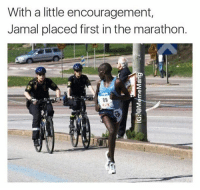Memes, 🤖, and Marathon: With a little encouragement,  Jamal placed first in the marathon.  89 Bad boys bad boys. What you gonna do Meme Mang