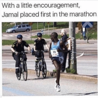 """Jamal managed to go from 17th place to 1st place in a matter of 1.8sec"" 👏🏽 - Follow me @bruhifunny for more! 🏗: With a little encouragement,  Jamal placed first in the marathon  89 ""Jamal managed to go from 17th place to 1st place in a matter of 1.8sec"" 👏🏽 - Follow me @bruhifunny for more! 🏗"