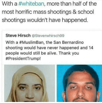 Alive, Facts, and Memes: With a  #whiteban, more than half of the  most horrific mass shootings & school  shootings wouldn't have happened  Steve Hirsch  @Stevenwhirsch99  With a #MuslimBan, the San Bernardino  shooting would have never happened and 14  people would still be alive. Thank you  I'm not anti white I just like facts -Tiara