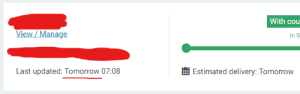 Future, Tomorrow, and Can: With cou  View/Manage  in S  Last updated: Tomorrow 07:08  Estimated delivery: Tomorrow Looks like NZ Post can already scan packages in the future now