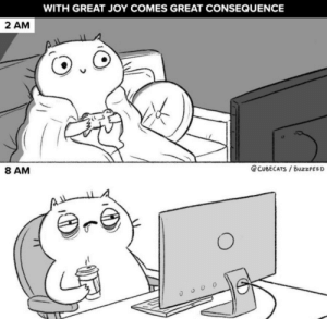 meirl: WITH GREAT JOY COMES GREAT CONSEQUENCE  2 AM  8 AM  @CUBECATS BuzzFEED  AL meirl