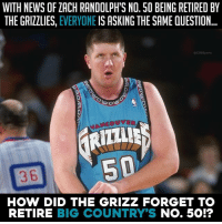 Memphis Grizzlies, Memes, and News: WITH NEWS OF ZACH RANDOLPH'S NO. 50 BEING RETIRED BY  THE GRIZZLIES, EVERYONE IS ASKING THE SAME QUESTION  CBSSpo  0  3 6  HOW DID THE GRIZZ FORGET TO  RETIRE BIG COUNTRY'S No. 50!? How you gonna do Big Country like that?