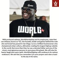 """We ask that you remember Q in your prayers and raise a toast to the sky in his name. RIP 🙏 https://t.co/ixsULQil32: With profound sadness, WorldStarHipHop and its employees, state that  Lee ODenat, known as """"Q"""", the founder, leader and genius behind the web-  site and brand has passed in San Diego. C was a brilliant businessman who  championed urban culture, ultimately creating the largest hiphop website  in the world. But more than that, he was a devoted father and one of the  nicest, most generous persons to ever grace this planet. We will miss his  hearty laugh and warm spirit. WorldStarHipHop will continue in its various  endeavors. We ask that you remember Q in your prayers and raise a toast  to the sky in his name. We ask that you remember Q in your prayers and raise a toast to the sky in his name. RIP 🙏 https://t.co/ixsULQil32"""