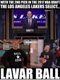 Nba, Los Angeles, and Star: WITH THE 2ND PICK IN THE 2017NBA DRAFT  THE LOS ANGELES LAKERSSELECT..  EDRAFT11  A statefarm  @NBAMEMES  BALL  333  STAR  LAMAR BALL As expected! #LakeShow #Things LaVar Ball Says