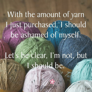 yarn stash memes - Crochet Now: With the amount of varn  I just purchased, I should  be ashamed of myself.  Let s he clear, I'm not, but  I should be  C.  Suleorft yarn stash memes - Crochet Now
