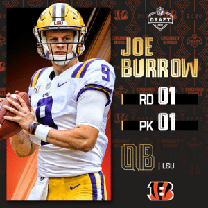 With the No. 1 overall pick in the 2020 #NFLDraft, the @Bengals select @LSUfootball QB Joe Burrow! (by @Bose) https://t.co/mk142Itdjt: With the No. 1 overall pick in the 2020 #NFLDraft, the @Bengals select @LSUfootball QB Joe Burrow! (by @Bose) https://t.co/mk142Itdjt