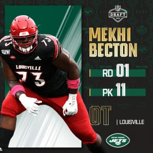 With the No. 11 overall pick in the 2020 #NFLDraft, the @nyjets select @UofLFootball OL Mekhi Becton!  (by @Bose) https://t.co/Uvc6w65Gfy: With the No. 11 overall pick in the 2020 #NFLDraft, the @nyjets select @UofLFootball OL Mekhi Becton!  (by @Bose) https://t.co/Uvc6w65Gfy