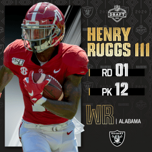 With the No. 12 overall pick in the 2020 #NFLDraft, the Las Vegas @Raiders select @AlabamaFTBL WR Henry Ruggs III!  (by @Bose) https://t.co/4JdUj0S086: With the No. 12 overall pick in the 2020 #NFLDraft, the Las Vegas @Raiders select @AlabamaFTBL WR Henry Ruggs III!  (by @Bose) https://t.co/4JdUj0S086