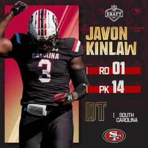 With the No. 14 overall pick, the @49ers select @GamecockFB DT @JavonKinlaw! (by @Bose)  📺: 2020 #NFLDraft on NFLN/ESPN/ABC 📱: https://t.co/G7fI4L8MxF https://t.co/pnmFgeCBfE: With the No. 14 overall pick, the @49ers select @GamecockFB DT @JavonKinlaw! (by @Bose)  📺: 2020 #NFLDraft on NFLN/ESPN/ABC 📱: https://t.co/G7fI4L8MxF https://t.co/pnmFgeCBfE