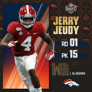 With the No. 15 overall pick, the @Broncos select @AlabamaFTBL WR @jerryjeudy!   (by @bose)  📺: 2020 #NFLDraft on NFLN/ESPN/ABC 📱: https://t.co/G7fI4L8MxF https://t.co/QVKwrZRr6h: With the No. 15 overall pick, the @Broncos select @AlabamaFTBL WR @jerryjeudy!   (by @bose)  📺: 2020 #NFLDraft on NFLN/ESPN/ABC 📱: https://t.co/G7fI4L8MxF https://t.co/QVKwrZRr6h