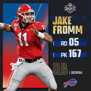 With the No. 167 overall pick, the @BuffaloBills select @GeorgiaFootball QB Jake Fromm!  📺: 2020 #NFLDraft on NFLN/ESPN/ABC 📱: https://t.co/G7fI4L8MxF https://t.co/nurs1a9WAF: With the No. 167 overall pick, the @BuffaloBills select @GeorgiaFootball QB Jake Fromm!  📺: 2020 #NFLDraft on NFLN/ESPN/ABC 📱: https://t.co/G7fI4L8MxF https://t.co/nurs1a9WAF