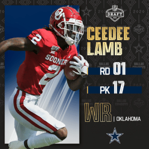 With the No. 17 pick, the @dallascowboys select @OU_Football WR CeeDee Lamb!  (by @Bose)  📺: 2020 #NFLDraft on NFLN/ESPN/ABC 📱: https://t.co/G7fI4L8MxF https://t.co/Ofj0gNy8M0: With the No. 17 pick, the @dallascowboys select @OU_Football WR CeeDee Lamb!  (by @Bose)  📺: 2020 #NFLDraft on NFLN/ESPN/ABC 📱: https://t.co/G7fI4L8MxF https://t.co/Ofj0gNy8M0