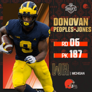 With the No. 187 overall pick, the @Browns select @UMichFootball WR Donovan Peoples-Jones!  📺: 2020 #NFLDraft on NFLN/ESPN/ABC 📱: https://t.co/G7fI4L8MxF https://t.co/GOFsREffad: With the No. 187 overall pick, the @Browns select @UMichFootball WR Donovan Peoples-Jones!  📺: 2020 #NFLDraft on NFLN/ESPN/ABC 📱: https://t.co/G7fI4L8MxF https://t.co/GOFsREffad