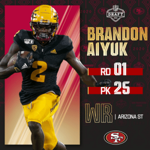 With the No. 25 overall pick, the @49ers select @ASUFootball WR Brandon Aiyuk! (by @Bose)  📺: 2020 #NFLDraft on NFLN/ESPN/ABC 📱: https://t.co/G7fI4L8MxF https://t.co/HabKty1Xq3: With the No. 25 overall pick, the @49ers select @ASUFootball WR Brandon Aiyuk! (by @Bose)  📺: 2020 #NFLDraft on NFLN/ESPN/ABC 📱: https://t.co/G7fI4L8MxF https://t.co/HabKty1Xq3