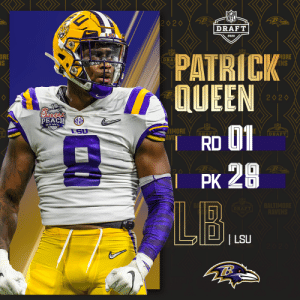 With the No. 28 overall pick, the @Ravens select @LSUfootball LB Patrick Queen! (by @Bose)  📺: 2020 #NFLDraft on NFLN/ESPN/ABC 📱: https://t.co/G7fI4L8MxF https://t.co/PppZ9G7U6o: With the No. 28 overall pick, the @Ravens select @LSUfootball LB Patrick Queen! (by @Bose)  📺: 2020 #NFLDraft on NFLN/ESPN/ABC 📱: https://t.co/G7fI4L8MxF https://t.co/PppZ9G7U6o