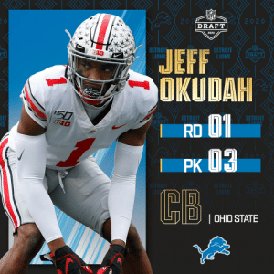 With the No. 3 overall pick in the 2020 #NFLDraft, the @Lions select @OhioStateFB CB Jeff Okudah!  (by @Bose) https://t.co/mXRnx3ujHi: With the No. 3 overall pick in the 2020 #NFLDraft, the @Lions select @OhioStateFB CB Jeff Okudah!  (by @Bose) https://t.co/mXRnx3ujHi