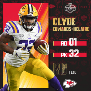 With the No. 32 overall pick, the @Chiefs select @LSUfootball RB Clyde Edwards-Helaire! (by @Bose) #NFLDraft https://t.co/yo1BKhM2Qt: With the No. 32 overall pick, the @Chiefs select @LSUfootball RB Clyde Edwards-Helaire! (by @Bose) #NFLDraft https://t.co/yo1BKhM2Qt