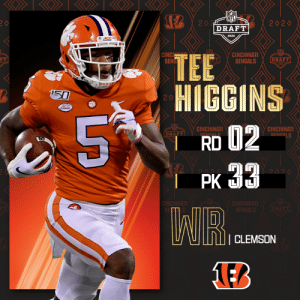 With the No. 33 overall pick, the @Bengals select @ClemsonFB WR Tee Higgins!  📺: 2020 #NFLDraft on NFLN/ESPN/ABC 📱: https://t.co/G7fI4L8MxF https://t.co/Fdc9mEDDS0: With the No. 33 overall pick, the @Bengals select @ClemsonFB WR Tee Higgins!  📺: 2020 #NFLDraft on NFLN/ESPN/ABC 📱: https://t.co/G7fI4L8MxF https://t.co/Fdc9mEDDS0