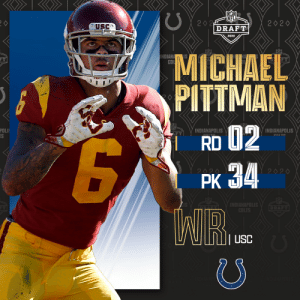 With the No. 34 overall pick, the @Colts select @USC_Athletics WR Michael Pittman Jr.!   📺: 2020 #NFLDraft on NFLN/ESPN/ABC 📱: https://t.co/G7fI4L8MxF https://t.co/mmqzwkwN89: With the No. 34 overall pick, the @Colts select @USC_Athletics WR Michael Pittman Jr.!   📺: 2020 #NFLDraft on NFLN/ESPN/ABC 📱: https://t.co/G7fI4L8MxF https://t.co/mmqzwkwN89