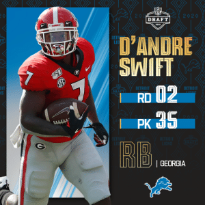 With the No. 35 pick, the @Lions select @GeorgiaFootball RB D'Andre Swift!   📺: 2020 #NFLDraft on NFLN/ESPN/ABC 📱: https://t.co/G7fI4L8MxF https://t.co/H8T5UqHcMP: With the No. 35 pick, the @Lions select @GeorgiaFootball RB D'Andre Swift!   📺: 2020 #NFLDraft on NFLN/ESPN/ABC 📱: https://t.co/G7fI4L8MxF https://t.co/H8T5UqHcMP