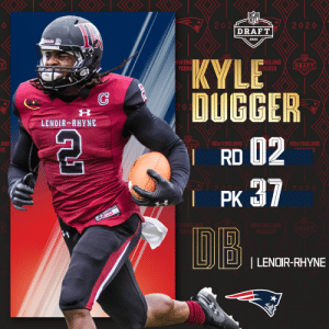 With the No. 37 overall pick, the @Patriots select @LRBearsFootball DB Kyle Dugger!   📺: 2020 #NFLDraft on NFLN/ESPN/ABC 📱: https://t.co/G7fI4L8MxF https://t.co/mYURfuUXuN: With the No. 37 overall pick, the @Patriots select @LRBearsFootball DB Kyle Dugger!   📺: 2020 #NFLDraft on NFLN/ESPN/ABC 📱: https://t.co/G7fI4L8MxF https://t.co/mYURfuUXuN
