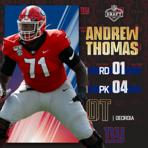 With the No. 4 overall pick in the 2020 #NFLDraft, the @Giants select @GeorgiaFootball OT Andrew Thomas!  (by @Bose) https://t.co/A4JcP1LUA7: With the No. 4 overall pick in the 2020 #NFLDraft, the @Giants select @GeorgiaFootball OT Andrew Thomas!  (by @Bose) https://t.co/A4JcP1LUA7