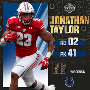 With the No. 41 overall pick, the @Colts select @BadgerFootball RB Jonathan Taylor!  📺: 2020 #NFLDraft on NFLN/ESPN/ABC 📱: https://t.co/G7fI4L8MxF https://t.co/nw63LKYVnX: With the No. 41 overall pick, the @Colts select @BadgerFootball RB Jonathan Taylor!  📺: 2020 #NFLDraft on NFLN/ESPN/ABC 📱: https://t.co/G7fI4L8MxF https://t.co/nw63LKYVnX