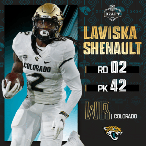 With the No. 42 overall pick, the @Jaguars select @CUBuffsFootball WR Laviska Shenault!  📺: 2020 #NFLDraft on NFLN/ESPN/ABC 📱: https://t.co/G7fI4L8MxF https://t.co/Cp6XXxKD3k: With the No. 42 overall pick, the @Jaguars select @CUBuffsFootball WR Laviska Shenault!  📺: 2020 #NFLDraft on NFLN/ESPN/ABC 📱: https://t.co/G7fI4L8MxF https://t.co/Cp6XXxKD3k