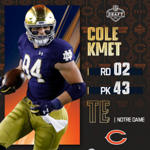 With the No. 43 overall pick, the @ChicagoBears select @NDFootball TE Cole Kmet!  📺: 2020 #NFLDraft on NFLN/ESPN/ABC 📱: https://t.co/G7fI4L8MxF https://t.co/xxFJ28vIPz: With the No. 43 overall pick, the @ChicagoBears select @NDFootball TE Cole Kmet!  📺: 2020 #NFLDraft on NFLN/ESPN/ABC 📱: https://t.co/G7fI4L8MxF https://t.co/xxFJ28vIPz