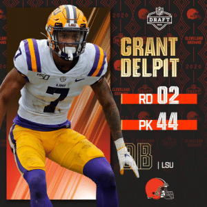 With the No. 44 overall pick, the @Browns select @LSUfootball S Grant Delpit!   📺: 2020 #NFLDraft on NFLN/ESPN/ABC 📱: https://t.co/G7fI4KRbG7 https://t.co/qE9QuHJEH5: With the No. 44 overall pick, the @Browns select @LSUfootball S Grant Delpit!   📺: 2020 #NFLDraft on NFLN/ESPN/ABC 📱: https://t.co/G7fI4KRbG7 https://t.co/qE9QuHJEH5