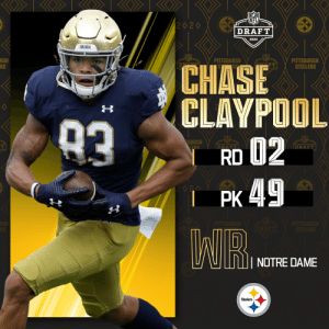With the No. 49 overall pick, the @Steelers select @NDFootball WR Chase Claypool!  📺: 2020 #NFLDraft on NFLN/ESPN/ABC 📱: https://t.co/G7fI4L8MxF https://t.co/vwPsNeziPS: With the No. 49 overall pick, the @Steelers select @NDFootball WR Chase Claypool!  📺: 2020 #NFLDraft on NFLN/ESPN/ABC 📱: https://t.co/G7fI4L8MxF https://t.co/vwPsNeziPS