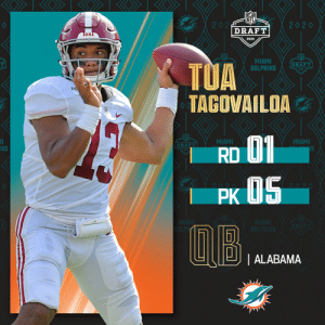 With the No. 5 overall pick in the 2020 #NFLDraft, the @MiamiDolphins select @AlabamaFTBL QB Tua Tagovailoa.   (by @Bose) https://t.co/oYUudU9N6u: With the No. 5 overall pick in the 2020 #NFLDraft, the @MiamiDolphins select @AlabamaFTBL QB Tua Tagovailoa.   (by @Bose) https://t.co/oYUudU9N6u