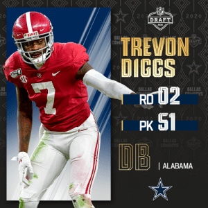 With the No. 51 overall pick, the @dallascowboys select @AlabamaFTBL DB @TrevonDiggs!   📺: 2020 #NFLDraft on NFLN/ESPN/ABC 📱: https://t.co/G7fI4L8MxF https://t.co/hF9UIdNSJa: With the No. 51 overall pick, the @dallascowboys select @AlabamaFTBL DB @TrevonDiggs!   📺: 2020 #NFLDraft on NFLN/ESPN/ABC 📱: https://t.co/G7fI4L8MxF https://t.co/hF9UIdNSJa