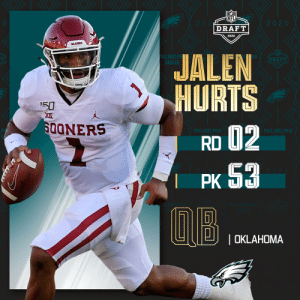 With the No. 53 overall pick, the @Eagles select @OU_Football QB @JalenHurts!   📺: 2020 #NFLDraft on NFLN/ESPN/ABC 📱: https://t.co/G7fI4L8MxF https://t.co/AQ3HcLk2Ln: With the No. 53 overall pick, the @Eagles select @OU_Football QB @JalenHurts!   📺: 2020 #NFLDraft on NFLN/ESPN/ABC 📱: https://t.co/G7fI4L8MxF https://t.co/AQ3HcLk2Ln