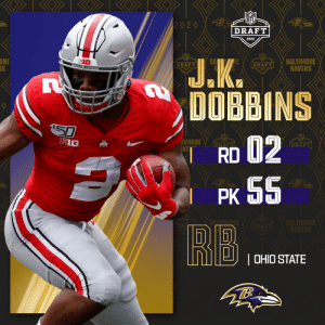 With the No. 55 overall pick, the @Ravens select @OhioStateFB RB J.K. Dobbins!  📺: 2020 #NFLDraft on NFLN/ESPN/ABC 📱: https://t.co/G7fI4L8MxF https://t.co/RMRsqBhuJT: With the No. 55 overall pick, the @Ravens select @OhioStateFB RB J.K. Dobbins!  📺: 2020 #NFLDraft on NFLN/ESPN/ABC 📱: https://t.co/G7fI4L8MxF https://t.co/RMRsqBhuJT