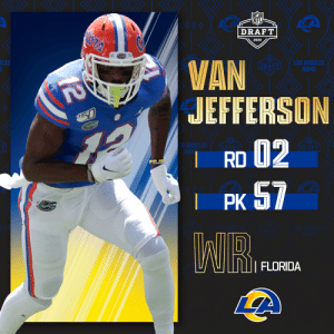 With the No. 57 overall pick, the @RamsNFL select @GatorsFB WR Van Jefferson!  📺: 2020 #NFLDraft on NFLN/ESPN/ABC 📱: https://t.co/G7fI4L8MxF https://t.co/TvSVUqGj3x: With the No. 57 overall pick, the @RamsNFL select @GatorsFB WR Van Jefferson!  📺: 2020 #NFLDraft on NFLN/ESPN/ABC 📱: https://t.co/G7fI4L8MxF https://t.co/TvSVUqGj3x