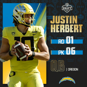 With the No. 6 overall pick in the 2020 #NFLDraft, the @Chargers select @oregonfootball QB Justin Herbert!   (by @Bose) https://t.co/1VruG7eESb: With the No. 6 overall pick in the 2020 #NFLDraft, the @Chargers select @oregonfootball QB Justin Herbert!   (by @Bose) https://t.co/1VruG7eESb