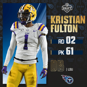 With the No. 61 overall pick, the @Titans select @LSUfootball DB Kristian Fulton!  📺: 2020 #NFLDraft on NFLN/ESPN/ABC 📱: https://t.co/G7fI4L8MxF https://t.co/XSOHGG5Au7: With the No. 61 overall pick, the @Titans select @LSUfootball DB Kristian Fulton!  📺: 2020 #NFLDraft on NFLN/ESPN/ABC 📱: https://t.co/G7fI4L8MxF https://t.co/XSOHGG5Au7